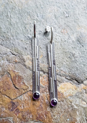 silver and amethyst post earrings contemporary styling by Dona Miller Designs