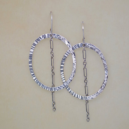 textured sterling oval hoop earrings dangling silver chain