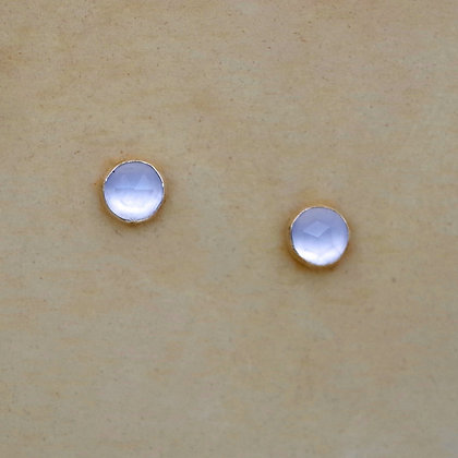 tiny 4mm rosecut blue chalcedony post earrings