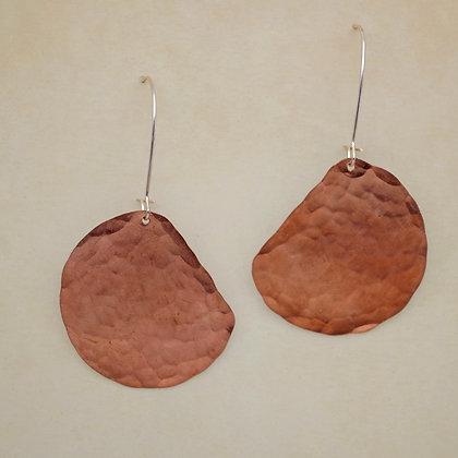 textured copper half moon earrings, Kira Rainey