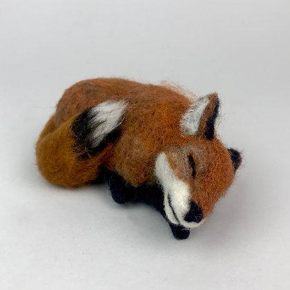 brown, black sleeping fox miniature needle felted sculpture