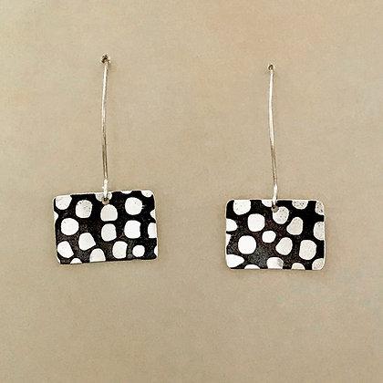 Rectangular polka dot black and silver earrings