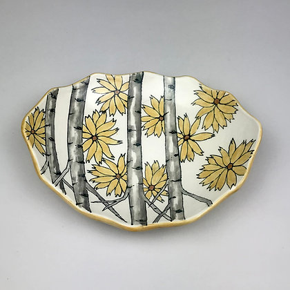 Yellow sunflowers with Aspen trees on scalloped oval clay dish