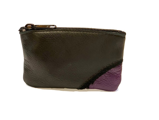 "Very supple small two tone purple and brown leather pouch with 5"" zipper."