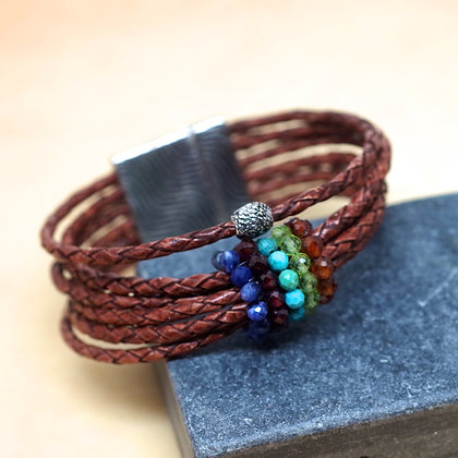 brown leather twist bracelet with multicolored bead accents