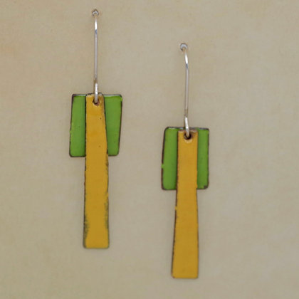green and yellow contemporary copper enameled dangle earrings
