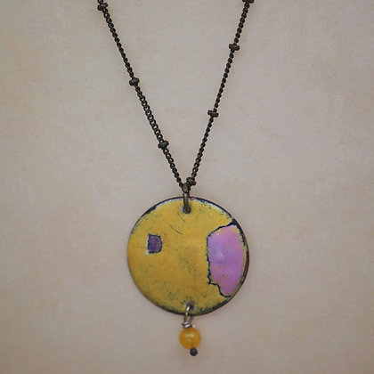 pink and yellow torch fired copper enamel necklace