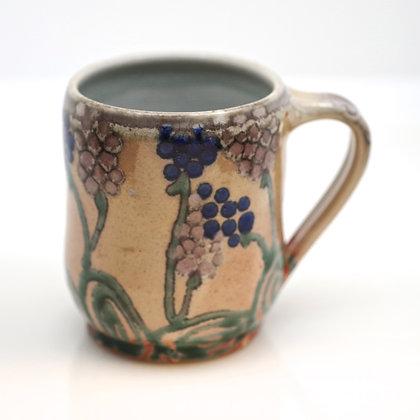 right hand view, blue, green, lavendar floral design, beige mug