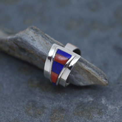 lapis and coral inlay silver ring