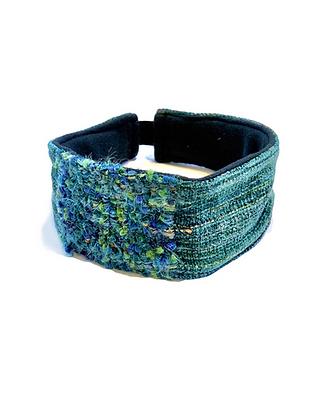 Aqua, blue and green woven headband