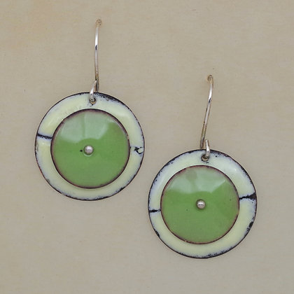 green and cream torch fired copper enamel round earrings Lynn Gardner