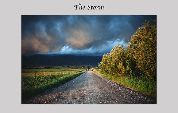country road, storm clouds, Montana, color photograph