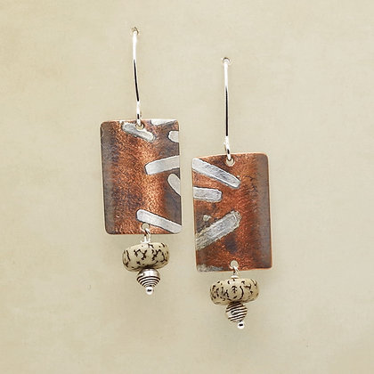 copper and silver rectangles, silver bead and organic seed drops