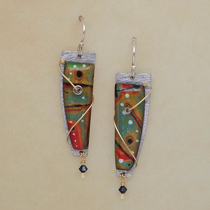 Red and green polymer clay silver earrings Swarovski crystal