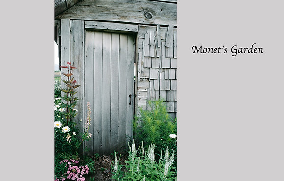 weathered wood farm building, flower garden, Montana farm