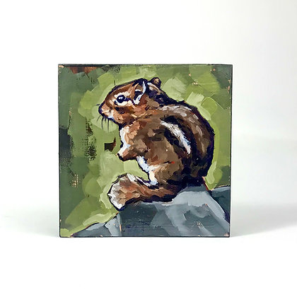 Oil painting of brown chipmunk sitting on a rock with green foliage background