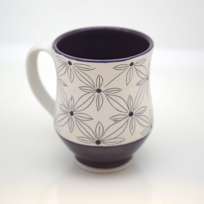 front view, purple and white graphic design mug