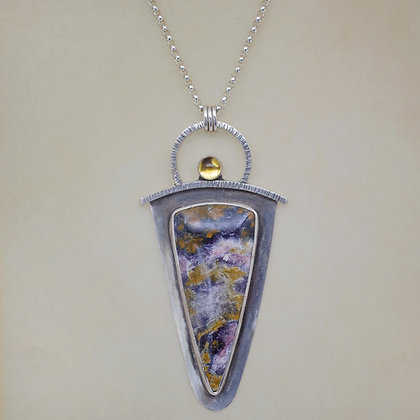Sterling silver, Indian Paintbrush cabachon, citrine, Dona Miller