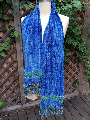 Deep cobalt blue scarf with embellishment and fringe