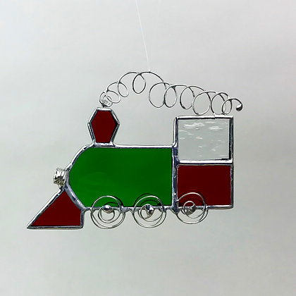 Locomotive ornament in red and green glass with silver wire accents