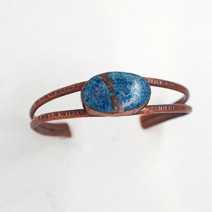hammered copper bracelet bezel set Alunite cabachon