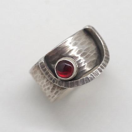 modern oxidized silver ring with garnet