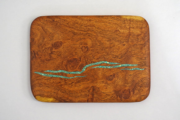 "Mesquite mini cutting board with turquoise chip inlay, 7.375"" x 10"""