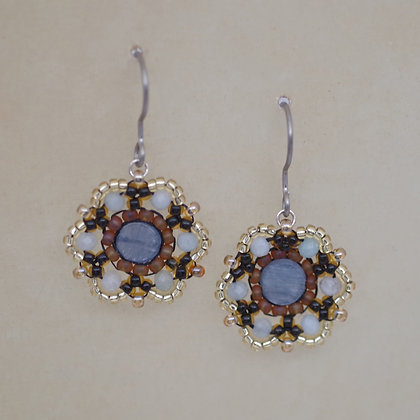 Traci Staves beaded disk earrings