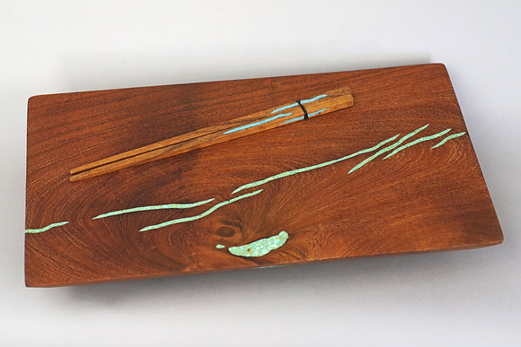 Mesquite brown cutting board, plus 2 chopsticks, turquoise inlay