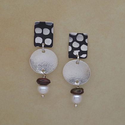 polka dot mokume post earrings sterling disks pearl beads