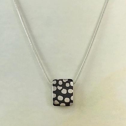 Polka dot Mokume-gane rectangle necklace front view