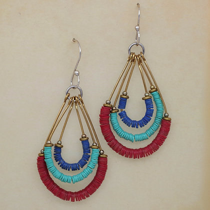 red blue turquoise beads dangle loops QMiller