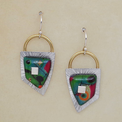 red green blue polymer clay silver earrings