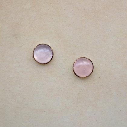 6mm rose quartz post earrings