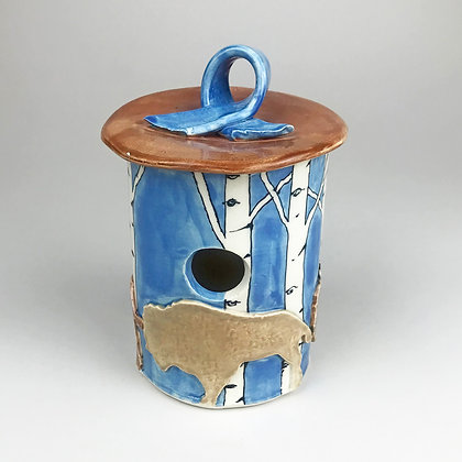 blue with aspen trees with buffalo on rustic pottery birdhouse by Jo Newhall