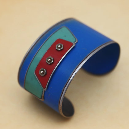 Blue green red wide repurposed vintage metal cuff