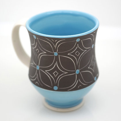 turquoise and dark gray, graphic design mug