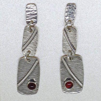 3 section silver and garnet post earrings