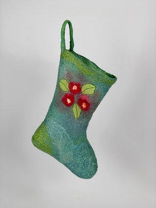 Green Felt Wool & Silk Christmas Stocking, front view
