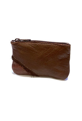 Small rectangular leather purse dark brown with contrasting embossed lighter brown accent corner
