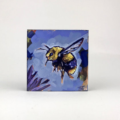 Small Bumblebee oil painting on blue background