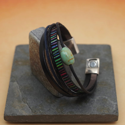 Leather ribbon bracelet red blue turquoise magnetic clasp