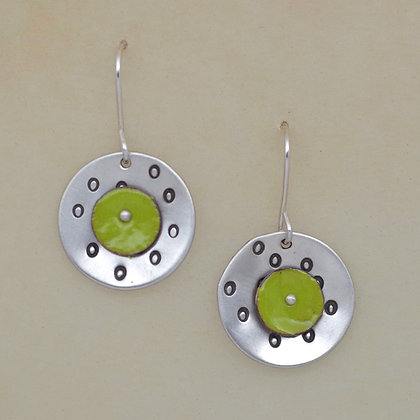 green and silver enameled copper earrings