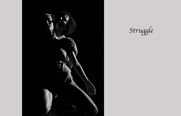 Modern dance, contemporary dance, duet, black and white photograph, tension