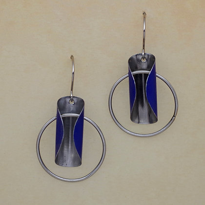 Cobalt blue recycled litho tin earrings
