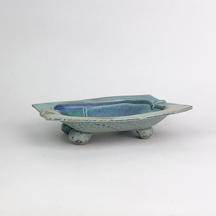 Small footed blue and green rectangular clay dish