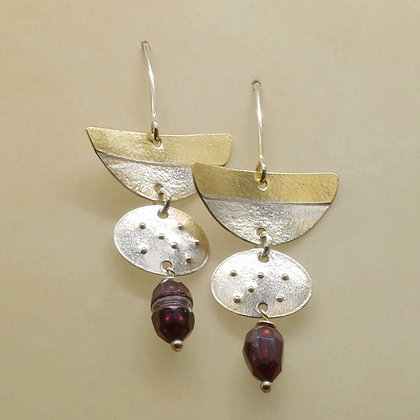 Contemporary three tiered silver and brass earrings with red beads