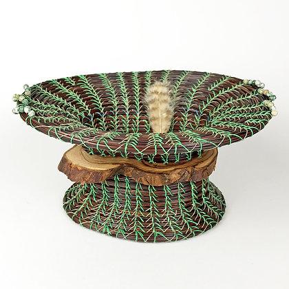 Dark brown woven basket with green threads, Jade beads