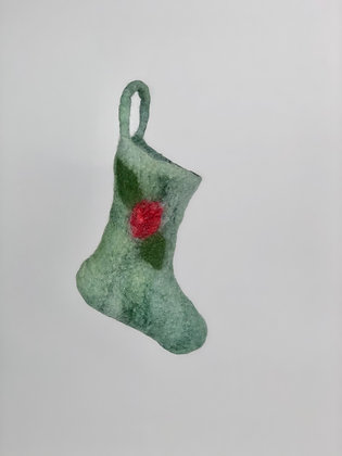 Hand Felted Green Christmas Stocking Ornament