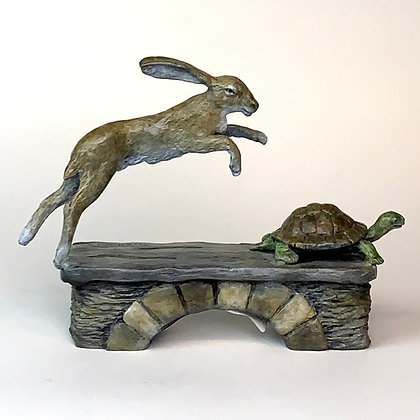 Tortoise and Hare Original bronze Art Small Sculptures Rabbit Turtle Collectables